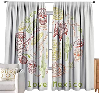 Andrea Sam Curtain tiebacks Mexican Decorations Collection,Mexican Symbols Guitar Taco Mask Music Instruments National I Love Mexico Quotes Print,Red W96 x L84 inch,Fit Farmhouse Window