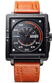 Mens Causal Stainless Steel Square Leather Strap Watch Calendar Quartz Wrist Square Watch S9761G