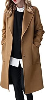 Women Winter Casual Solid Lapel Open Front Loose Tweed Coat Outerwear Plus Size