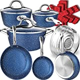 Dealz Frenzy Stone Ultra Non-Stick Induction Cookware Set, 16 Pieces Marble Mineral Coating Pots and Pans Set, Stainless Steel Handle,Durable, Scratch Resistance, Dishwasher Safe, Oven Safe Ocean Blue