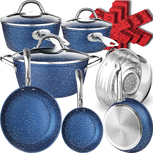 Dealz Frenzy Stone Ultra Non-Stick Induction Cookware Set, 16 Pieces Marble Mineral Coating Pots and Pans Set, Stainless Steel Handle,Durable,...