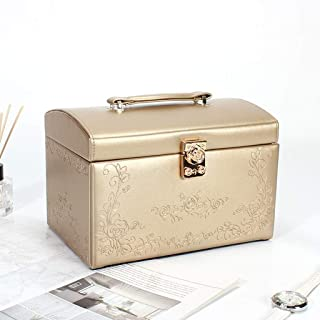 Jewelry Boxes & Organizers Jewelry Box, Soft Lining Interior Anti-Scratch, Lockable, Rectangular Travel Size Case Included, Organizer for Makeup and Jewels (Color : Gold)