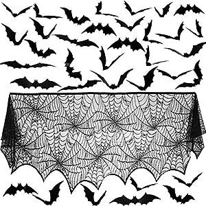 48 Piezas Pegatinas de Murciélagos de 3D de Halloween Pegatinas Calcomanías de Pared de PVC y Tela de Araña de Encaje Negro Cubierta de Bufanda de Manto de Chimenea, 36 x 96 Pulgadas(Gran Tamaño)