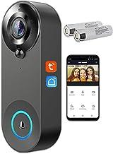 Tuya Smart Life WIFI Video Deurbel, Draadloze Intercom IR Nachtzicht 1080P Beveiligingscamera Werkt met Alexa & Google Ass...