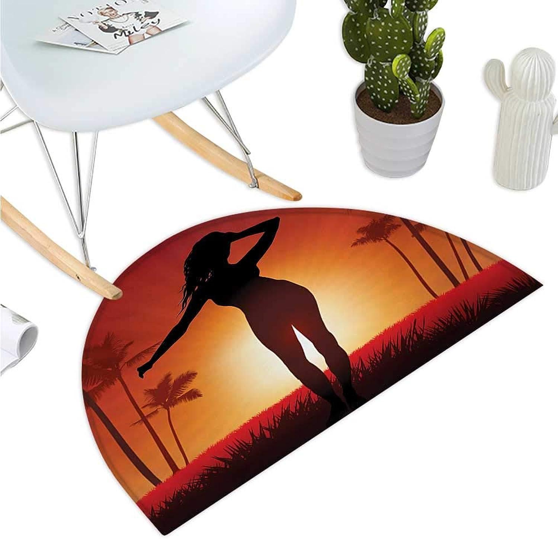 Girls Semicircular Cushion Silhouette of Female Human Body in The Sunshine of Exotic Lands Image Print Halfmoon doormats H 35.4  xD 53.1  Burnt orange Black