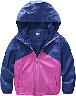 M2C Boys & Girls Hooded Light Weight Windbreaker Water Resistant Jacket