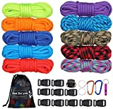 MONOBIN Paracord Combo Kits - 550 Type III Parachute Cord - Bracelet Crafting Kits, Survival Rope Making lanyards,Dog Collar,Bracelet
