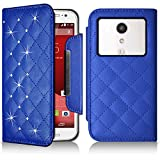 Seluxion-Funda tipo cartera universal M, diseño de diamantes, color azul para Motorola Moto G () segunda generación
