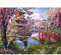 NC88 Diy5Dダイヤモンドペインティングキットフルドリル富士山日本から桜の寺院刺繡モザイククロスステッチ家の装飾12x16インチ(フレームレス)