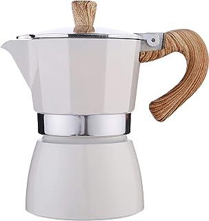 石歩理 モカ エスプレッソメーカー コーヒーメーカー エスプレッソメーカー 直火式 モカポット コーヒーパーコレーター アルミ製 300ml(ホワイト)