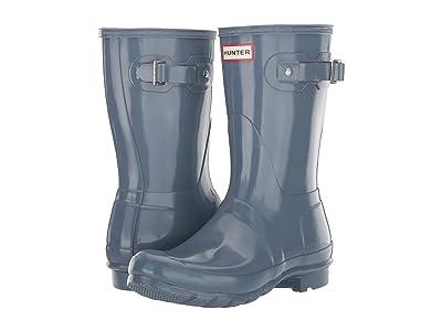 Hunter Original Short Gloss Rain Boots (Gull Grey) Women