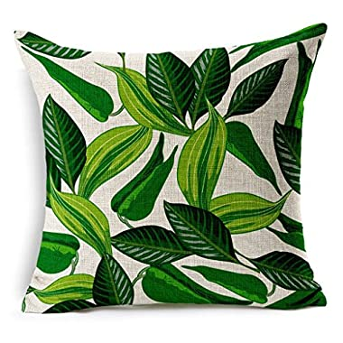 HACASO 18 X 18 Inch Cotton Linen Decorative Throw Pillow Cover Cushion Case Tropical Forest Print Pillowcase(3)