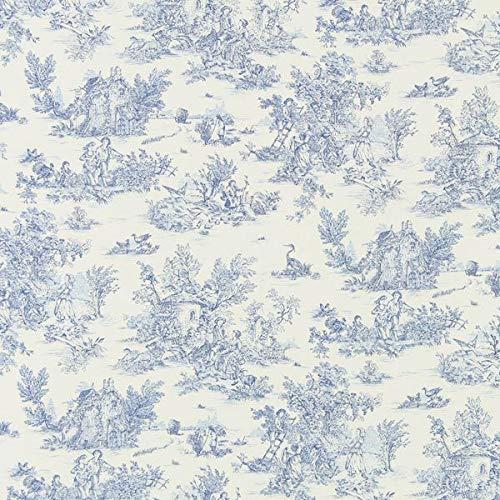 Baumwollstoff kleine Pastorale 280 cm – blau — Meterware ab 0,5m — zum Nähen von Kissen/Tagesdecken & Taschen