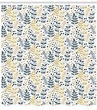MLNHY Botanical Shower Curtain, Forest Plant Leaf Fern Honey Locust Pinnate Whorled Flowers, Cloth Fabric Bathroom Decor Set with Hooks, Dark Petrol Blue Apricot White,66 X 72 Inches,Multicolor