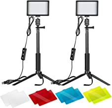 Neewer 2 Packs Dimmable 5600K USB LED Video Light with Adjustable Tripod Stand/Color Filters for...