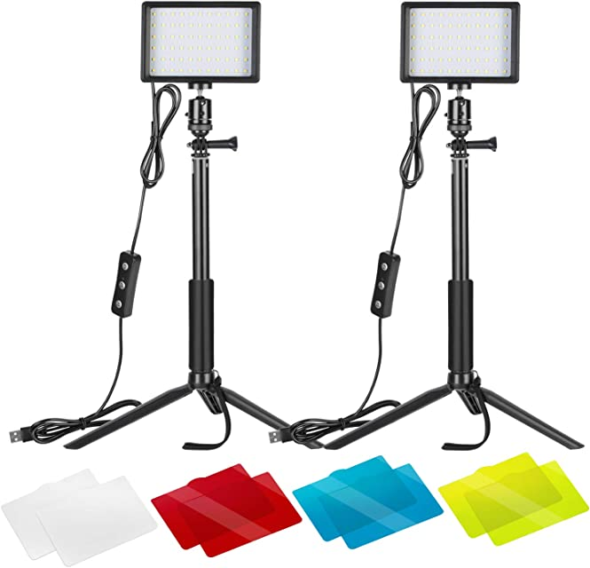 Neewer 2-Pack Luz LED Video 5600K Regulable con Soporte Trípode Ajustable/Filtros de Color para Tablero de Mesa/Angulo BajoIluminación LED ColoridaRetrato Producto Fotografía Video Youtube