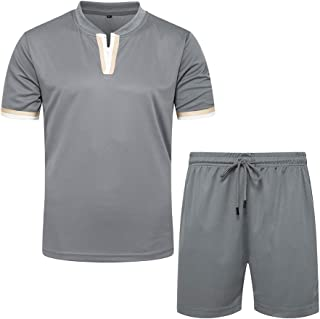 Men's Casual Tracksuit Short Sleeve and Shorts Comfy Running Jogging Athletic Sports Set