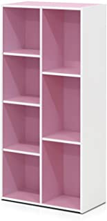 Furinno 7-Cube Reversible Open Shelf, White/Pink 11048WH/PI