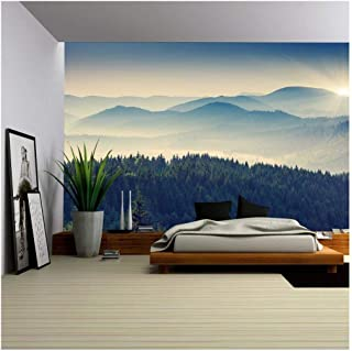 wall26 - Beautiful Sunny Day is in Mountain Landscape. Carpathian, Ukraine, Europe. - Removable Wall Mural | Self-Adhesive Large Wallpaper - 100x144 inches
