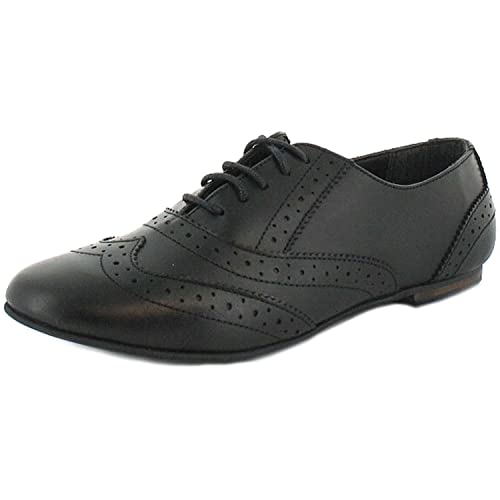 5a170c32a788 Ladies/Womens Black Leather Lace Up Shoe With Brogue Detail - Black - UK  SIZES