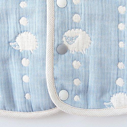 [10mois(ディモワ)-Hoppetta]ふくふくガーゼ(6重ガーゼ)2wayベビースリーパーコットン100%新生児~3歳頃までブルー