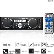Hi-azul Autoradio, 1 DIN In-Dash Car Stereo DC 24V Radio de Coche Reproductor de Audio AUX Soporte Bluetooth, FM Radio, Control Remoto IR, USB/SD, Reproductor de MP3 (para Vehículos de 24V)