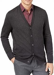 Tasso Elba Mens V-Neck Heathered Cardigan Sweater