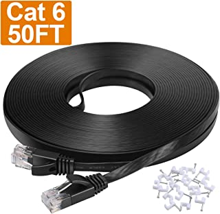 Cat6 Ethernet Cable 50 ft, Cat 6 Flat Internet Cords with Clips&RJ45 Snagless Connector, Solid High Speed Computer LAN Wire for PS4,Switch Boxes,Router,Modem - 50 feet Black