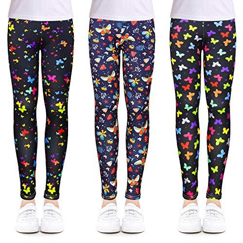 OioTuyi Kinder Mädchen Leggings Kinder Stretch Knöchellang Hosen Drucken Blumen Kleidung Hosen Strumpfhosen für 3–11 Jahre