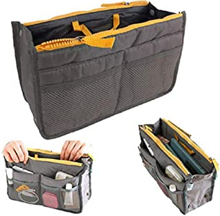Double Zipper Cosmetic Bags, Portable Travel Storage Organiser Mesh Toiletries Make up Bag Cosmetic Bag Make-up Beauty Wash Bags in Bag for Traveling and Home Use (grey)