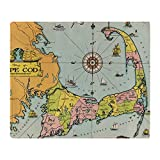 CafePress Vintage Map of Cape Cod Throw Blanket Soft Fleece Throw Blanket, 50'x60' Stadium Blanket