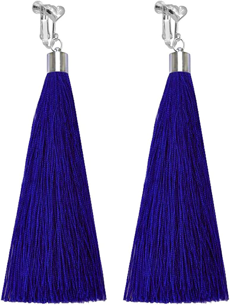 Bohemian Clip on Earrings Heart Clips Purple Long Fringe Thread Tassel Dangle Wedding Prom Earring