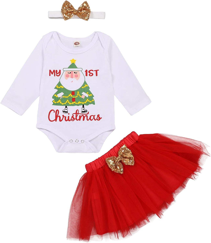 Baby Girl My First Christmas Skirt Outfits Toddler Santa Claus Carton Print Romper Red Tutu Skirt Bow Headband 3Pcs Set