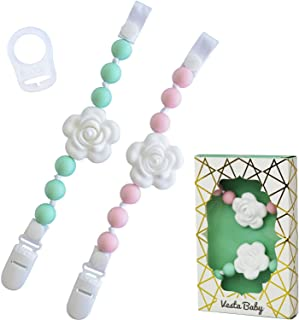 2 Universal Baby Pacifier Clips with Silicone Teething Beads for Girls,2 MAM Pacifier Clip Adapters, Soothie Pacifier Holder & Baby Teether Holder, Binky Clips are Best Baby Girl Gifts (Mint & Pink)