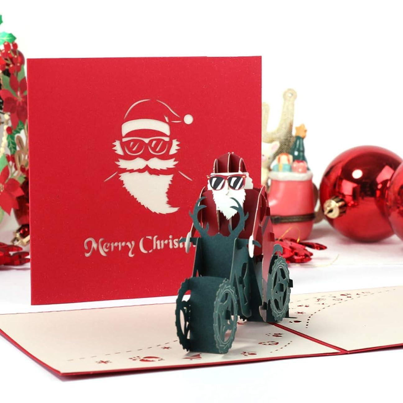 確率クッションエントリ3Dポップアップグリーティングカードサンタクロース手作りクリスマス結婚式招待状クラフトバイクに乗るサンタワンサイズ