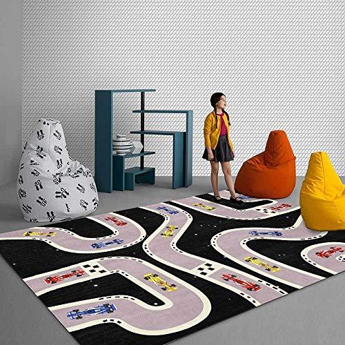 Teppich Moderner Wohnzimmer Große Area Rugs Cartoon Schwarze Rennstraße Schlafzimmer Zimmer Teppich Sofa Tisch Kind Krabbeln Matte 100x160CM (3ft28''x5ft3)