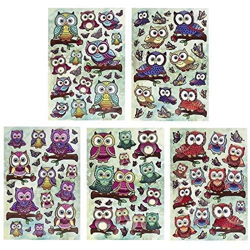 Deko-Sticker Set | Eulen auf Ästen | Mit Glitzer und Schmucksteinen | Bunte Aufkleber | 5 Bogen | Bogengröße jeweils 12,5 x 18,5 cm
