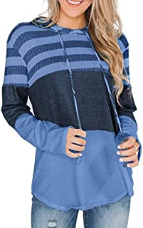 UUYUK Women Pullover Long Sleeve Color Block Stripe Hoodie Tops Sweatshirts