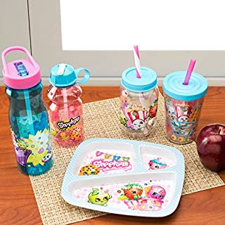 Zak Designs SHPC-P280 Water Bottles, Tritan Straw, Shopkins