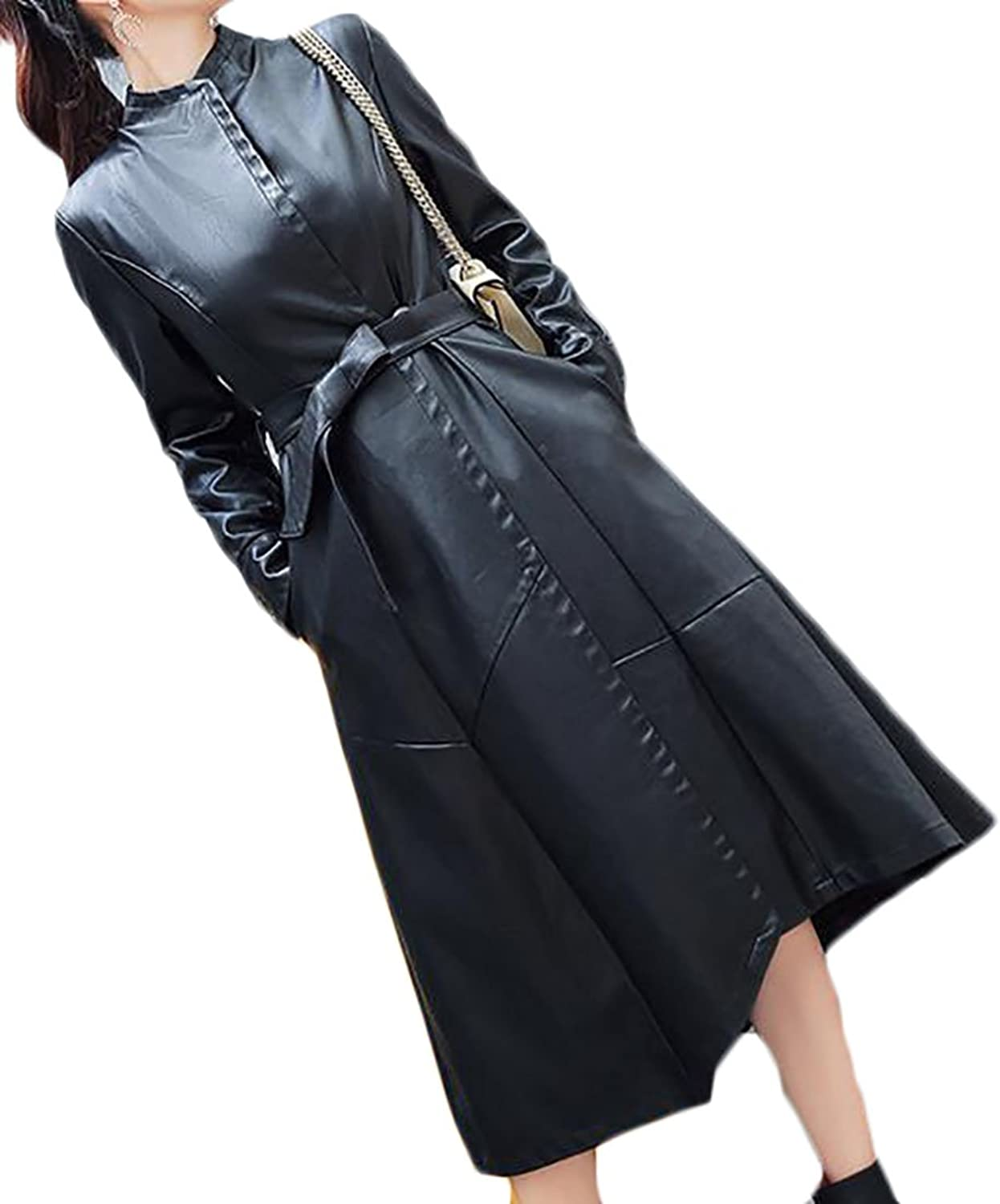 XQS Womens Casual Belted Faux Leather Open Front Trench Coat with Belt