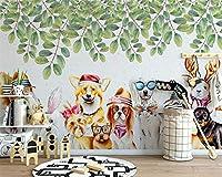 Ljjlm 壁紙カスタムノルディッククリエイティブかわいいグループ子犬植物葉子供S部屋背景壁の装飾絵画-260X180Cm