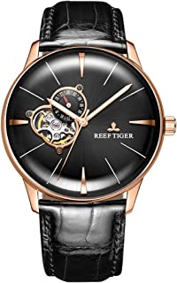 Luxury Automatic Watches Mens Genuine Leather Strap Rose Gold Convex Lens Watches RGA8239