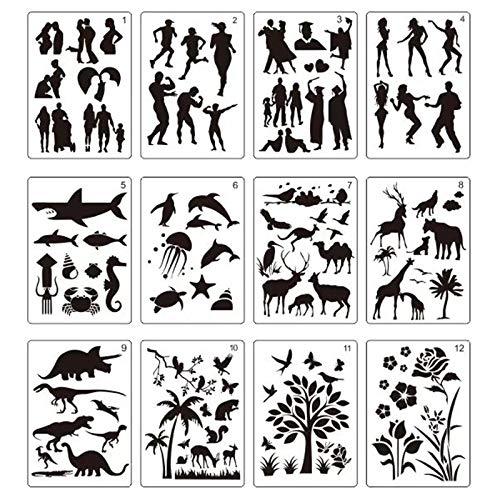 12 große Schablonen für Vorlagen, 70 verschiedene Liebesmuster, Malschablonen, Tiere, Pflanzen, Menschen, Meerestiere, Luftballon, Kinder, Dinosaurier-Vorlage (20,8 x 29,5 cm)