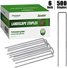 Amagabeli 6 Inch Garden Stakes Galvanized Landscape Staples 11 Gauge 500 Pack Heavy Duty Sod Pins Fence Stakes for Anchori...