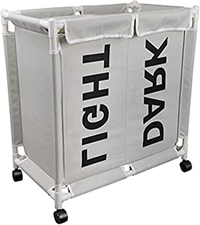 Krystal_wisdom Laundry Basket Detachable Dirty Cloth Hamper Waterproof Home Clothes Storage Basket with Lid 2 Grid,58x68x35cm,Light Grey