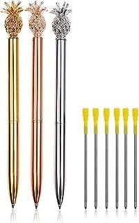 Pineapple Pens Ballpoint Pens + 6Pcs 3.2'' Ballpoint Pen Refills Black Ink (3Pcs Pineapple pens)