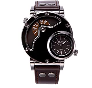GoolRC Oulm Watch Two Time Zone Man Quartz Watch Brand Luxury Leather Strap Sport WristWatch With Two Movement Male Clock ...