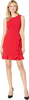 Women's Sleeveless Jewel Neck Crepe Dress w/Asymmetrical Skirt Ruffle