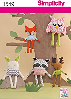 Simplicity 1549 Children's Stuffed Animal Toy Sewing Patterns, One