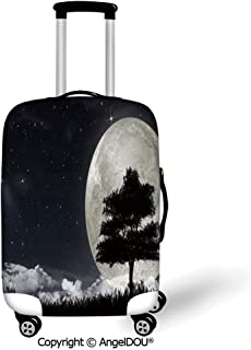 AngelDOU Trolley Trunk Dust Case Cover Travel Accessories Night Silhouette of a Ancient Tree Against Giant Moon Starry Sky Fantastic Decorative Silver Black Charcoal Grey Elastic Luggage Dust Cover.